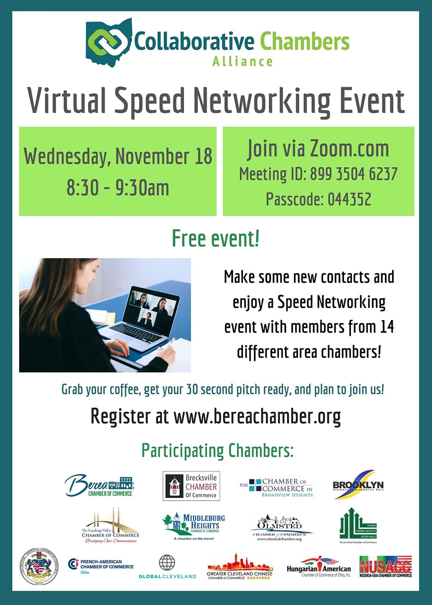 The next CCA Virtual Speed Networking event will take place on Wednesday, November 18th from 8:30-9:30am